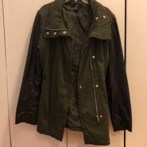Green and faux leather h & m jacket
